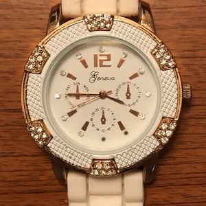 Geneva Rose Gold & White Watch with Silicone Band